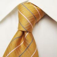 綺麗なオレンジイエロー|Knot Dimple(NAGAE扱い)|ストライプネクタイ【USED】0313