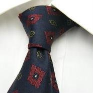 【MART SCHAFFER MARX】創業1887年のブランド パターン柄ネクタイ【赤濃紺系】【USED】20160429-011