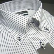 送料200円同梱OK【新品/半袖】アダム&イヴ 形態安定 ボタンダウン ストライプ柄半袖Yシャツ 白紺(襟周り41cm)|ワイシャツ|2200000426437