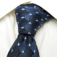 ネイビー系スーツに◎【SIMON LEGER(アクティージャパン扱い)】織りの綺麗な総柄ネクタイ【USED】0201