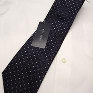 新品|ネイビー系スーツに◎|BIGLIDUE(ビリドゥーエ)|2色ピンドット柄ネイビー系ネクタイ|日本製|シルク100%|201704