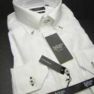 送料200円同梱OK【新品/長袖】アダム&イヴ  形態安定 ボタンダウン 白シャドーストライプ長袖Yシャツ (襟周り41cm-80)|ワイシャツ|2200000373984