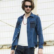 インディゴ染めチェックシャツ / PROJECT SR'ES(プロジェクトエスアールエス) / 日本製