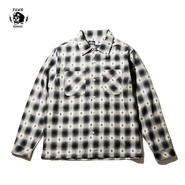 PAWN DOBBY OMBRE CHECK SHIRT ブラック