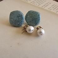 ターコイズブラックトラバーチン+cotton pearl