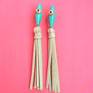 turquoise fringe pierce-beige-