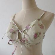 【予約販売】ふわりブラ  リネンRose&butterfly(内側ヘンプ100%)