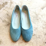 牛革スエードflatpumps/lightblue