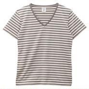 Ladies VネックボーダーTシャツ