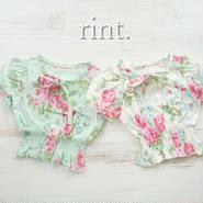 *再販*cotton baby  花柄トップス ミント・ホワイト《90~130》