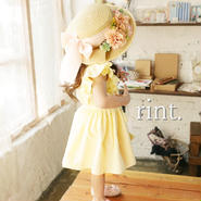 *6月29日12:00発売*BONNE flower ribbon麦わら帽子 ピンク《51㎝》