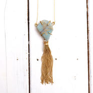 African opal×tassel necklace