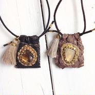 Gemstone×Leather Necklace