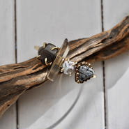 「Apachetear×Smoky quartz×Freshwater pearl×Snow flake obsidian」Gemstones bangle