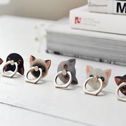 猫デザイン スマホ等に リング型スタンド・ホルダー