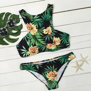 Flower&Leaves Floral Tank Bikini