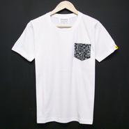Dark Botanical - Pocket Tshirts:ダークボタニカル - ポケットTシャツ ホワイト