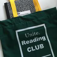 "UNICORN UNIVERSITY ""Reading Club"" bag  green × yellow"