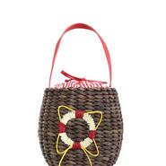 浮き輪モチーフ・マリンバスケットバッグ (ブラウン)【セール】【巾着】【かごバッグ】【ナチュラル】【自然素材】【ブラウン】【雑誌掲載】