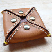 Sofia☆Leather coin case/Camel×Brown