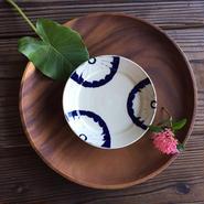 やちむん リム皿(5寸)/菊花/宮城正幸