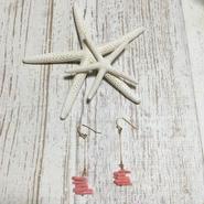 珊瑚カラーピアス