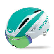 GIRO(ジロ) AIR ATTACK SHIELD Matte White / Turquoise 着脱簡単なシールドで更なる空力性能