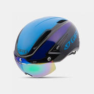GIRO(ジロ) AIR ATTACK SHIELD Black/Blue/Purple 着脱簡単なシールドで更なる空力性能 シールドカラー:Gray / Silver Flash