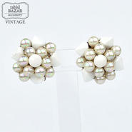 【American Vintage】Earrings ヴィンテージイヤリング Silver&White from Los Angeles