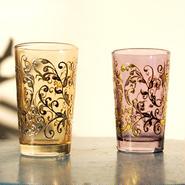 Mint tea glass 耐熱ミントティーグラス2個セット orange&purple