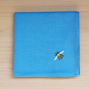 ハンカチ ブルー ミツバチ刺繍