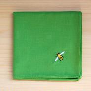 ハンカチ グリーン ミツバチ刺繍