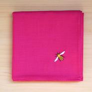 ハンカチ ピンク ミツバチ刺繍