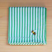 ストライプハンカチ グリーン ミツバチ刺繍