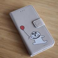 「風船持ってるラッシー犬」の手帳型iphoneカバー iphone7, 6, 6s対応 カード入れ付いてます