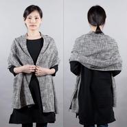ざっくり編み ブラック&ホワイトミックス ストール、マフラー
