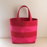 ボーダー トートバッグ 赤+ピンク