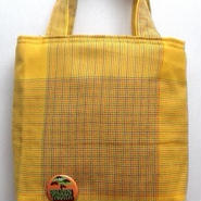 ばっぱの手作りチビトート(黄色格子柄)