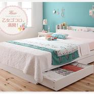 棚・コンセント付き収納ベッド【Fleur】フルール【ポケットコイルマットレス:ハード付き】シングル