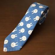 水色うさぎ柄ネクタイ