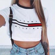 大人気 トミー 腹出しTシャツ ブラックとホワイト選択  XLM5119