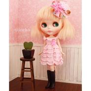 春るんるんワンピ ヘッドコサージュセット pink