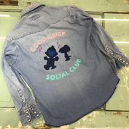 "LOT, STOCK AND BARREL VINTAGE DENIM SHIRTS WITH CHAINSTITCHING  ""GOOD GRIEF SOCIAL CLUB"""