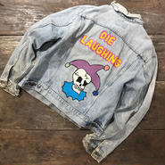 "LOT, STOCK AND BARREL VINTAGE DENIM JACKET WITH CHAINSTITCHING  ""DIE LAUGHING"" "" Ⅱ SAD"""