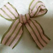 フランス製りぼん ピンク モスグリーン ストライプ 1メートル