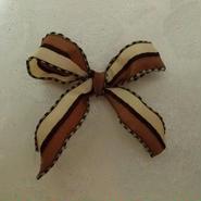 フランス製りぼん 茶色 カスタードイエロー 1メートル