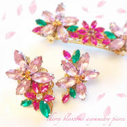 Cherry blossoms pierce&earring♡はんなり桜アシンメトリーピアス&イヤリング♡