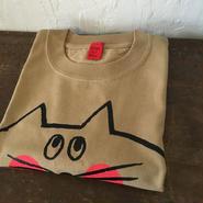 ▲送料無料 140サイズ/半そで ねこもぐらさんTシャツC 6.2oz uyoga cat mole キャメル ほっぺあり 1036番目のねこもぐらさん