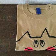 ▲送料無料 150サイズ/半そで ねこもぐらさんTシャツC 6.2oz uyoga cat mole キャメル ほっぺあり 1037番目のねこもぐらさん