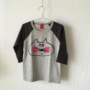▲送料無料 110サイズ/ラグラン七分そで ねこもぐらさんTシャツE オーガニックコットン uyoga cat mole チャコールグレー×グレー ほっぺあり 1095番目のねこもぐらさん
